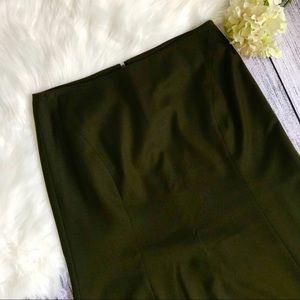 TALBOTS Olive Green Fluted Midi Skirt 00791